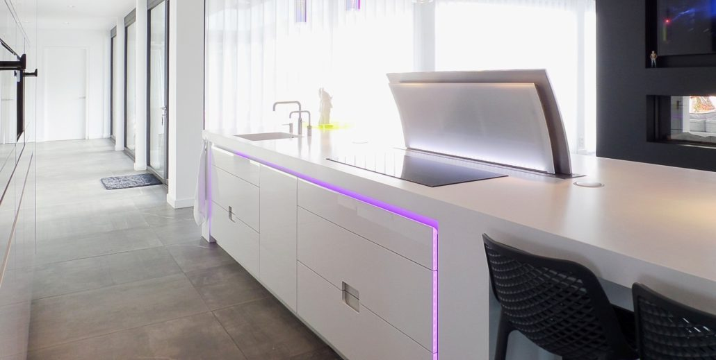 Corian eiland met Led-verlichting - Cora Techniek