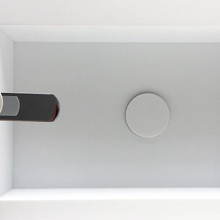 Solid Surface wastafel maatwerk met rechte binnenhoek bovenaanzicht
