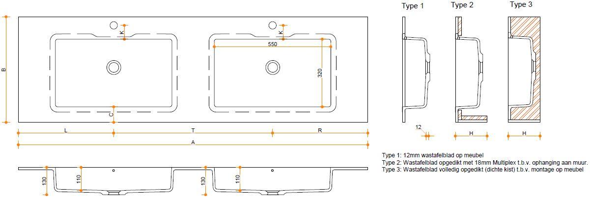 Solid Surface wastafelblad op maat - Corian Quiet 7120 wasbakken