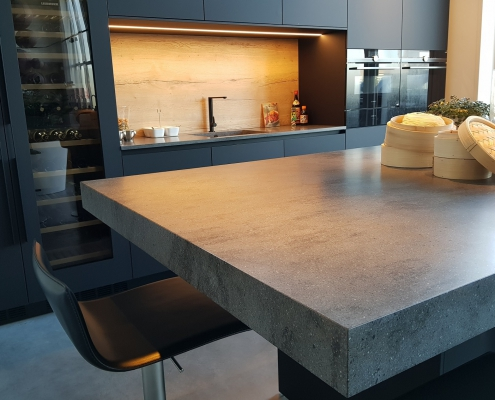 Corian eilandblad Lava Rock close up overhanging