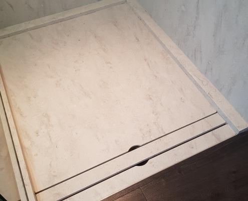 CORA Obliquo Shower - drain maatwerk - Corian Clam Shell 2