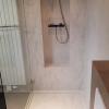 CORA Obliquo Shower - drain maatwerk - Corian Clam Shell met achterwand en nis
