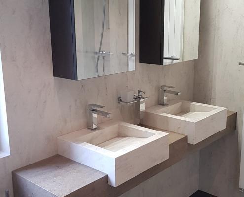 CORA Bathroomproducts - Corian wandbekleding - corian wastafel - verkleind