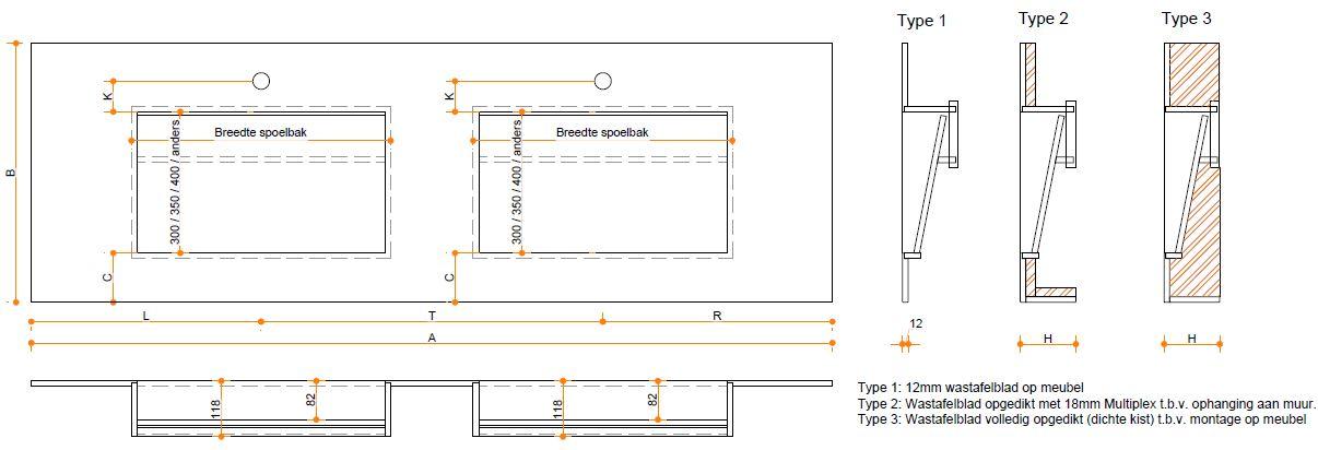 Solid Surface wastafelblad op maat - CORA Traverso wasbakken