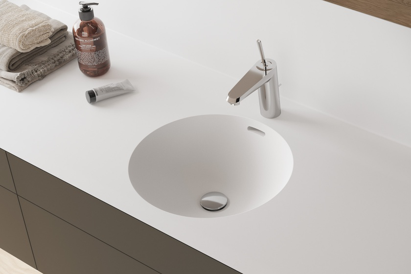 CORA CREATO ROUND - SOLID SURFACE WASTAFEL