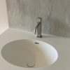 Ovale Solid Surface spoelbak - Incollato Oval - Corian Neutral Aggregate achterwand - frontview