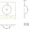 Solid Surface wastafelblad op maat - CORA Creato Round dubbel