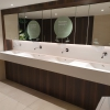 Project wereldhave toiletruimtes - HI-MACS maatwerk wastafels dames - Solid Surface wasbak Incollato Wave