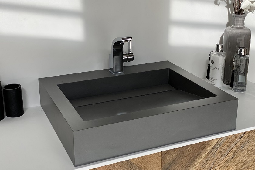 Obliquo wasbak - Corian Carbon Concrete - 840x560