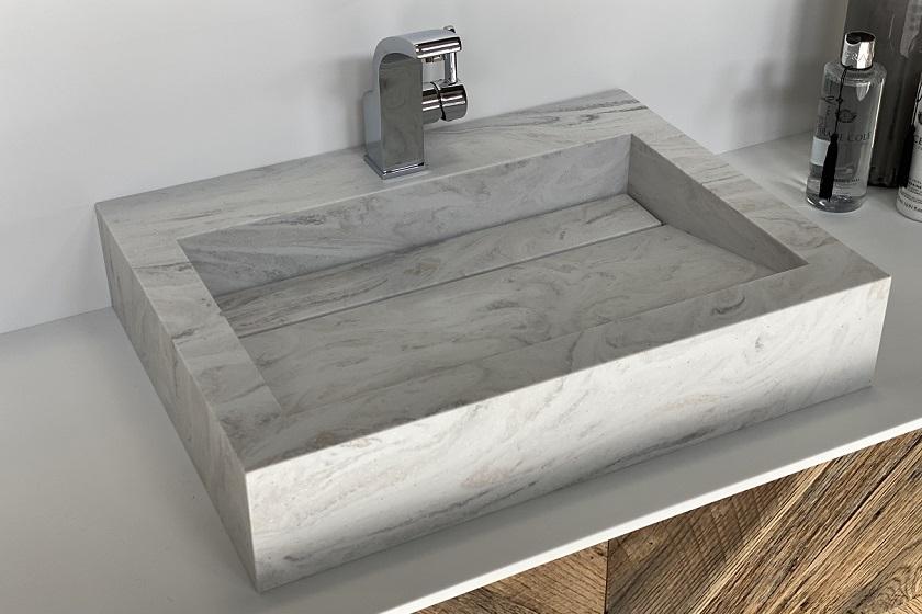 Wasbak Obliquo - Corian Limestone Prima - 840x560