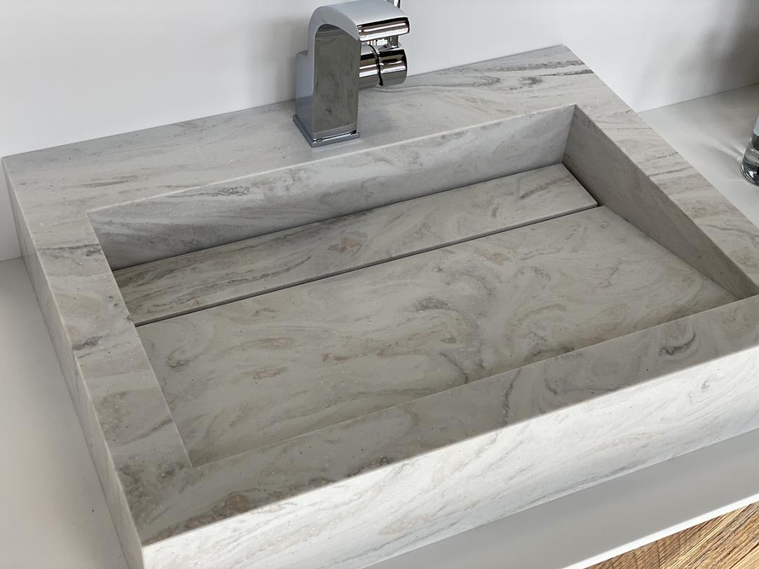 Wasbak Obliquo - Corian Limestone Prima - Top 1