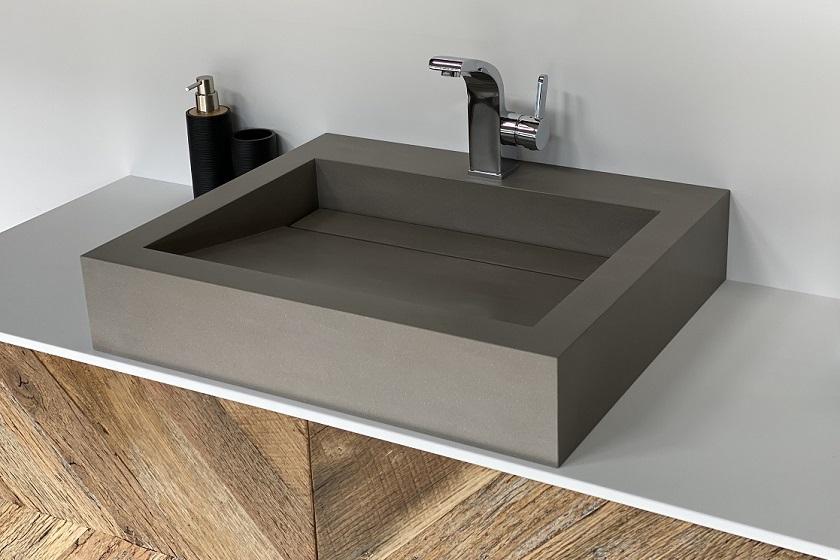 Wasbak Obliquo - Corian Wheatered Concrete - 840x560
